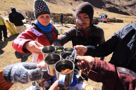 Flashpacker Connect coca tea toast before hitting the trail