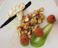 Culinaria dinner - grilled squid with ink, octopus hash and seafood croquettes