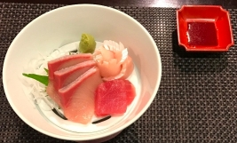 Hotel Hakuba Hifumi dinner third course yellowtail sashimi