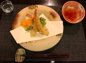 Hotel Hakuba Hifumi dinner fourth course tempura shrimp and veggies
