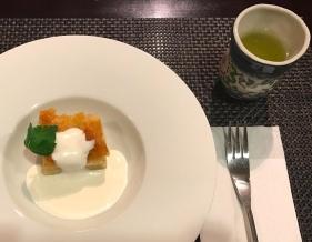 Hotel Hakuba Hifumi dinner sixth course almond cake with cream and matcha