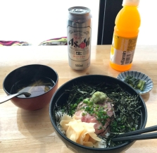 Sunterrace Panorama lunch on the slopes, maguro rice bowl, miso soup and pickles