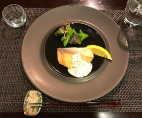 Hotel Hakuba Hifumi dinner third course grilled salmon