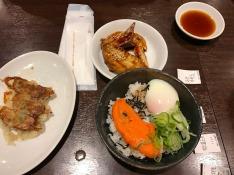 Don, gyoza and chicken wings at Yodobashi Camera