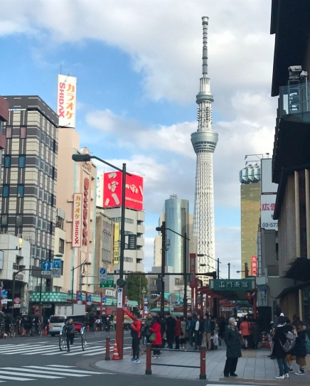 Old town Asakusa contrasts with the starkly modern Tokyo Sky Tree in the distance