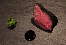 NARISAWA Sumi 2008 Kobe Beef with carbonized leek power coating to resemble charcoal