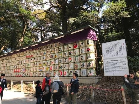 Meiji Jingu Barrels of Sake wrapped in straw