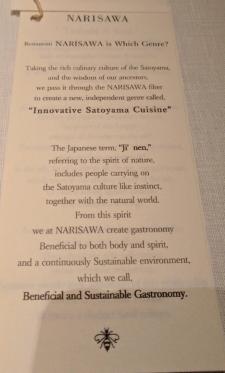 NARISAWA menu and notes about the restaurant