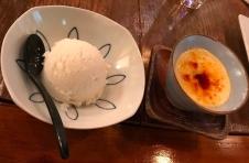 Yamazaki pudding and sake gelato