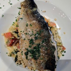 Crab stuffed trout over couscous at Magnolias