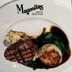 Petite filet and crab cake at Magnolias