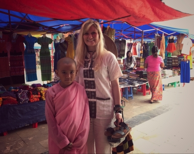 Market at Hpaung Daw U Pagoda - this nun's mom asked if she could take a photo with me