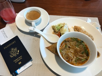 Breakfast buffet and Yangon airport lounge