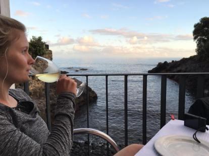 Sunset dinner at Bar Caloura
