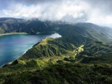 Lagoa do fogo from above with surrounding trails