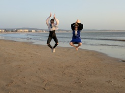 Essaouira Morocco jumping on the beach