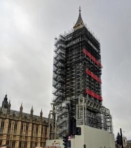 Big Ben under scaffolding