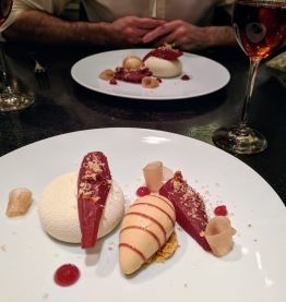 Dinner by Heston Blumenthal London gingerbread ice cream and wine poached pear