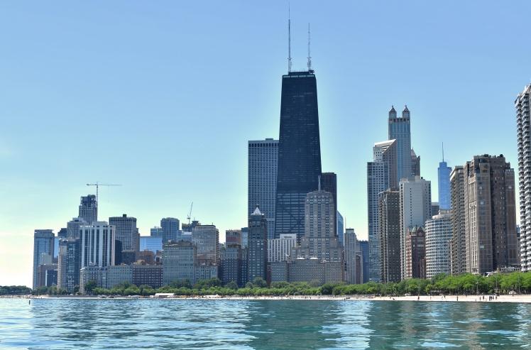 Concrete Beach Chicago skyline view