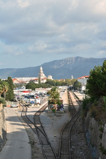Railroad tracks and city view - Split, Croatia