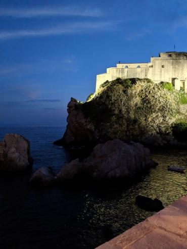 Fort Lovrijenac from Nautika Restaurant at night Dubrovnik Croatia