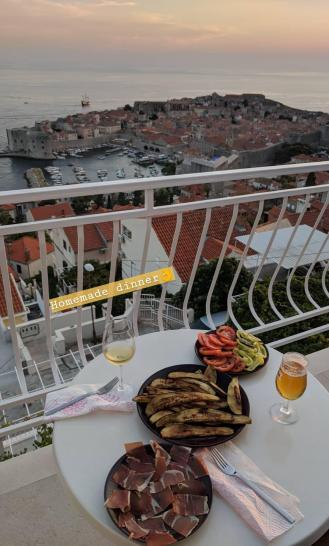 Dinner on Balcony of Airbnb Apartment Luka Dubrovnik, Croatia