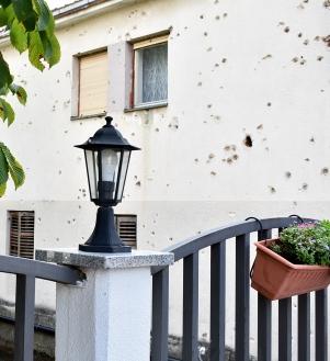 Mostar Bosnia Herzegovena bullet riddled wall