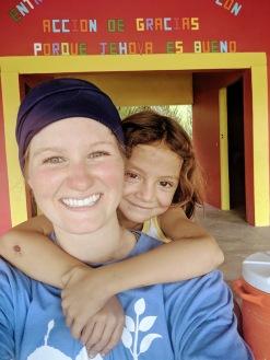 La Coroza community center piggy back ride