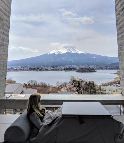 heated table setup at Hoshinoya Fuji Japan