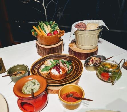 Dinner appetizer at the main dining hall Hoshinoya Fuji Japan