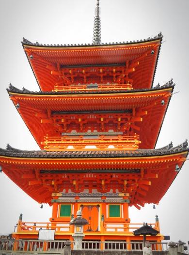 Vermilion temple at Kiyomizudera Kyoto Japan