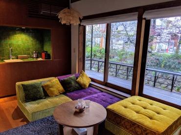 Kyoto Airbnb retro decor and sakura view