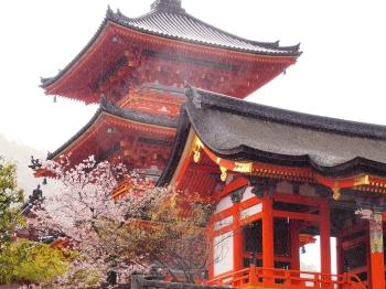 Kiyomizudera temple in rain Kyoto Japan