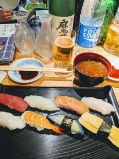 quick standing sushi lunch Nishiki Market