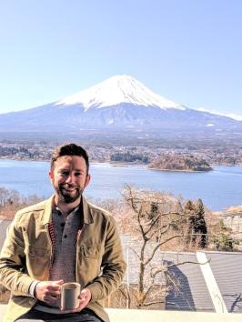 Ryan and coffee at Hoshinoya Fuji