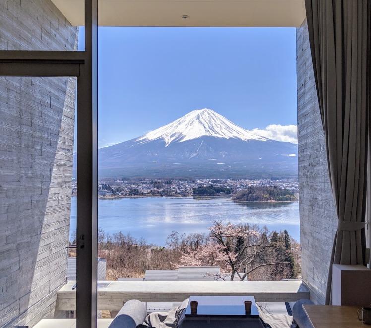 View from Hoshinoya Fuji on a clear day in sakura season